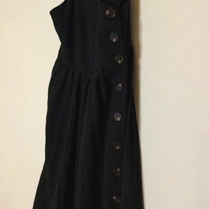 Dreamers Side-Button Summer Dress Black Size Small